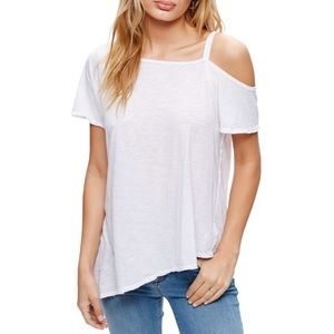 FREE PEOPLE Coraline Cold Shoulder White Tee NWT